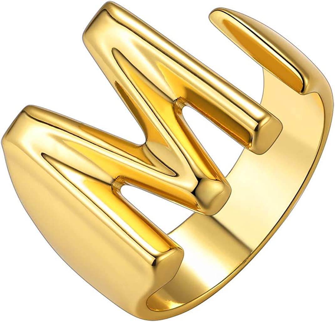 KeyStyle GoldChic Jewelry Personalized Gold Bold Initial Letter Open Ring Adjustable Women Statement Rings Party|Women's Signet Ring|18K Gold Plated Open Alphabet Rings|Letter A to Z