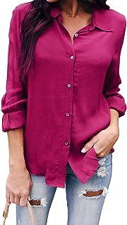 قمصان OMSJ النسائية بأزرار سفلية طويلة الأكمام من الشيفون برقبة على شكل حرف V كاجوال للعمل