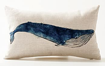 Ink Painting Blue Sea Animals Gray Whale Marine Organisms Cotton Linen Waist Lumbar Pillow Case Cushion Cover Personalized...