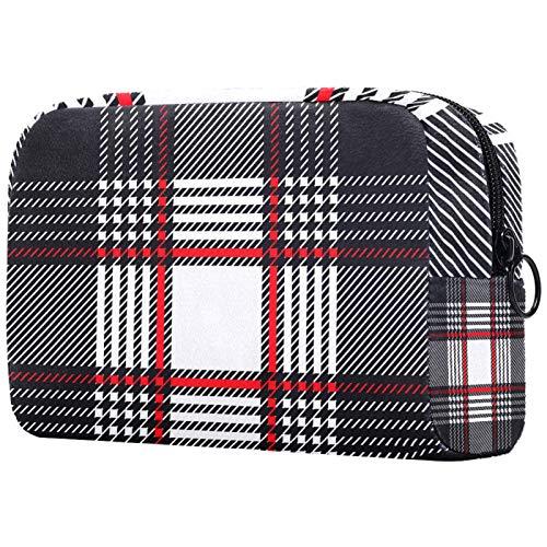 KAMEARI Bolsa de cosméticos gris blanco rojo faja grande bolsa cosmética organizador multifuncional bolsas de viaje