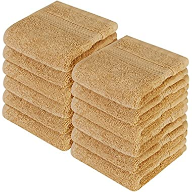 Utopia Towels Premium 700 GSM Washcloths Towel Set 12 Pack champagne 12 by 12 Inches Multi-purpose Extra Soft Fingertip towels Highly Absorbent Face Cloths Machine Washable Sport and Workout Towels