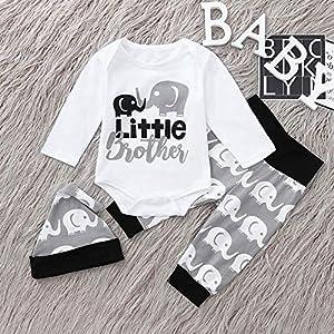 Little Brother Kleidung weiß grau Set aus 3 Stück ab 3 bis 6 Monat, Größe 70 Baby Boy Kleidung neugeborene kleidung baby