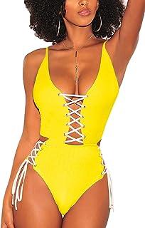 d500b4e34b75d ioiom Women Sexy Criss Cross Lace Up High Waisted One Piece Monokini  Swimsuit