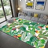 Bljanglai Alfombra De Área De Hoja Verde Tropical Alfombra De Poliéster Sala De Estar Comedor Dormitorio Alfombra Súper Suave 100X150Cm K3563