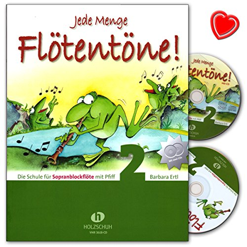 Jede Menge Flötentöne 2 - Schule für Sopranblockflöte mit Pfiff von Barbara Ertl - mit 2 CDs und bunter herzförmiger Notenklammer - VHR3618CD - 9783940069870