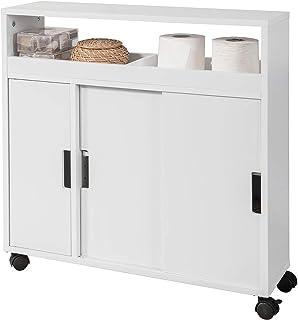 SoBuy BZR02-W Meuble de Rangement Salle de Bain Armoire WC Meuble WC pour Papier Toilette Porte Brosse WC