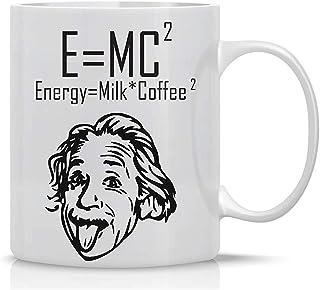 ENERGÍA = LECHE Y CAFÉ Taza divertida Taza de café de 11 oz Tazas para ingenieros informáticos Tazas para geeks Tazas geek divertidas de AW Fashions (Blanco)
