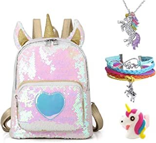 Pink Rainbow Unicorn Backpack, Mini Waterproof Backpack for Girls Kids 4 Set