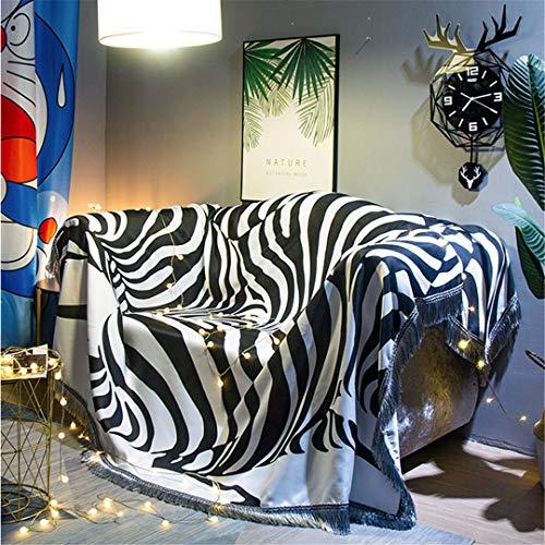 DFLYHLH Manta de sofá Minimalista nórdica, Cubierta de Cebra, Tela, sofá, Toalla, cojín, Antideslizante, a Prueba de Polvo, Cubierta de Cama para Dormitorio, Alfombra 5 90X150CM