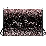 Haboke 10x8ft Durable Fabric Happy Birthday Backdrop Pink and Black Shiny Gold dot Glamour Sparkle Sweet Photography Background for Kids Adults Birthday Party Decorations Supplies Photo Studio Props …