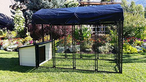 Cove Products K9 Condo 4' X 8' Dog Run/Kennel with K9 Cabin Dog House Combination-Basic