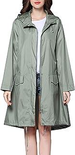CAMLAKEE Chubasquero para Mujer - Abrigo Impermeable con Capucha Largo - Chaqueta de Lluvia Seco Rápido Rompevientos