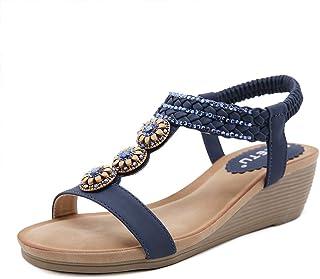 ZAPZEAL Sandales Bout Ouvert Mules Femme Compensees Bohêm Perlé Chaussures Talon Plateforme Chaussons Bride Cheville Mode ...