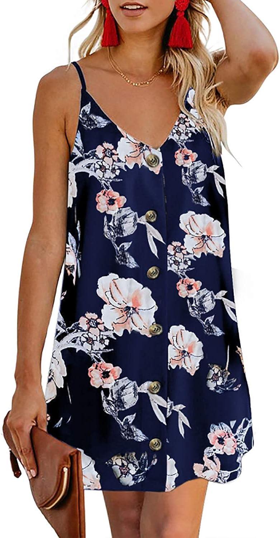 Kenoce Women's Summer Halter Sleeveless Dress Casual Loose Sundress Mini Beach Bikini Swimsuit Cover Ups
