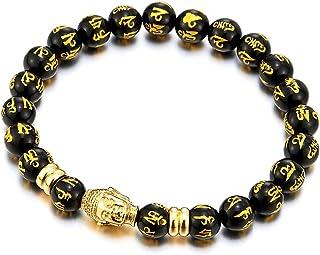 3 Couleurs Joielavie Bracelet T/ête de Bouddha Om Mani Padme Hum Mantra Sanscrit Grav/é Perle Pierre Naturelle Tib/étain /Élastique Cha/îne de Main Cadeau Homme Femme