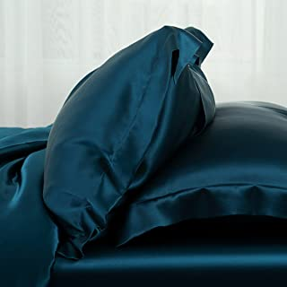 Orose 4Pcs Charmeuse Mulberry Silk Bed Sheet Set,Seamless, Deep Pocket (Queen, Peacock Blue)