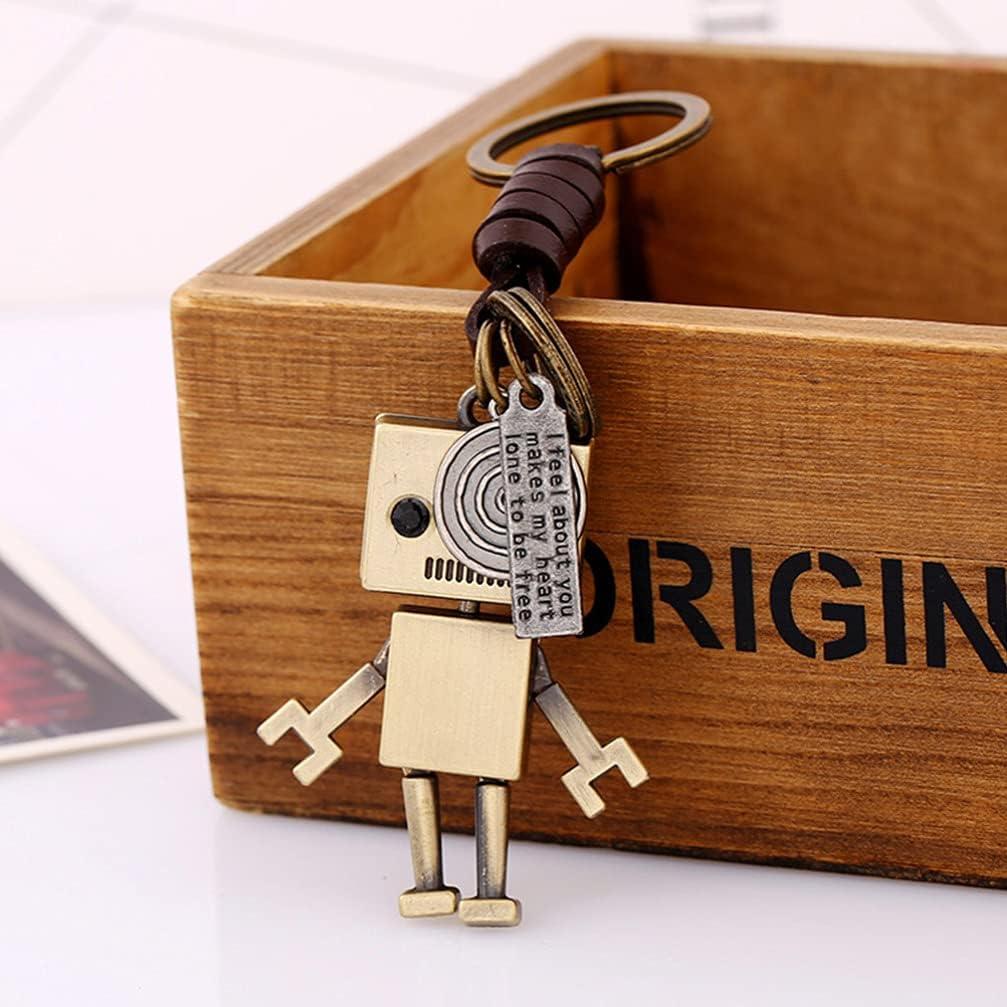 NUOBESTY 2pcs Leather Car Key Chain Movable Metal Robot Keychain Retro Pendant Keyring for Women Men Gift Bag Purse Decor