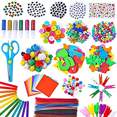 Arts and Crafts Supplies for Kids - 1400 Pcs Pipe Cleaners Chenille Stems Pom Poms - Assorted Craft Art Supply Kit Set for Kids Age 4 5 6 7 8 9 School Creative Projects DIY Activities - Seminy
