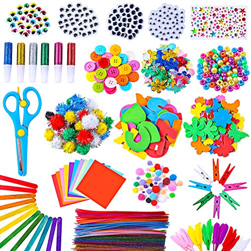 Arts and Crafts Supplies for Kids - 1400 Pcs Pipe Cleaners Chenille Stems Pom Poms - Assorted Craft Art Supply Kit Set for Kids Age 4 5 6 7 8 9 School Creative Projects DIY Activities