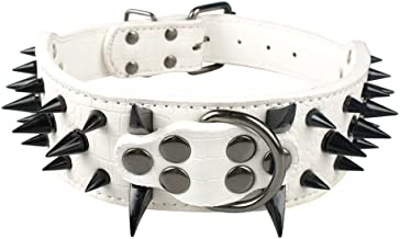 Beirui Sharp Spiked Studded Dog Collar - Stylish Leather Dog Collars - 2 Inch in Width Fit Medium & Large Dogs