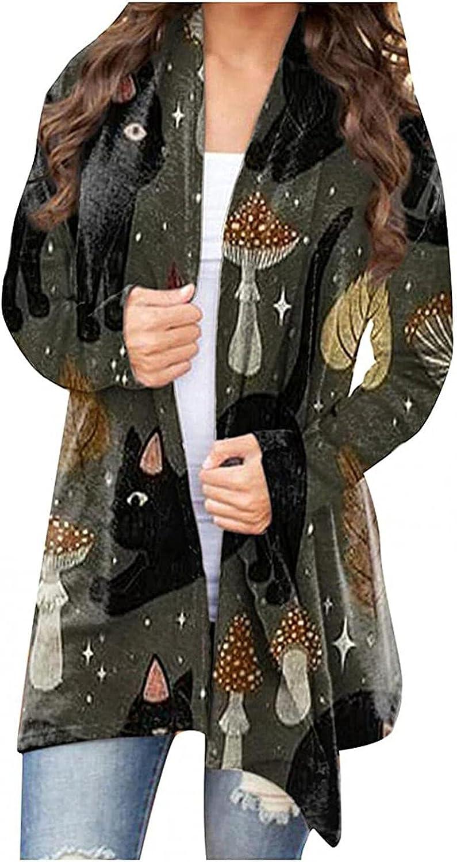 Masbird Halloween Cardigan for Women, Womens Cute Pumpkin Ghost Graphic Long Sleeve Tops Open Front Lightweight Coat