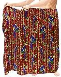 LA LEELA para Hombre Pareo Pareo Envoltura Encubrir Beachwear del Traje de baño Blood Rojo Hawaiano Traje