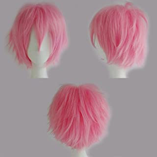 S-noilite Unisex Cosplay Short Fluffy Straight Hair Wig Cool Anime Con Party Dress Heat Resistant Wigs Pink