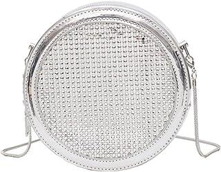 Lurrose Kleine Runde Tasche PU Silber Sanfte Kette Tasche Schulter Tasche Crossbody Beutel Handtasche Beutel für Damen Fra...
