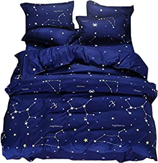 Ludan Blue Stars Bedding 3 Piece Flower Girl Bedding Set Cartoon Unicorn Pink Black Bedspreads Cute Duvet Covers for Teens Twin/Full/Queen Size,Without Comforter (Blue, Full/Queen) …