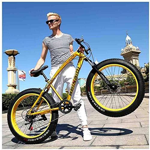 aipipl Bicicleta MTB Playa para Adultos Motos de Nieve Bicicletas Bicicleta de montaña para Hombres y Mujeres Ruedas 26IN Velocidad Ajustable Freno de Disco Doble Bicicleta Todoterreno