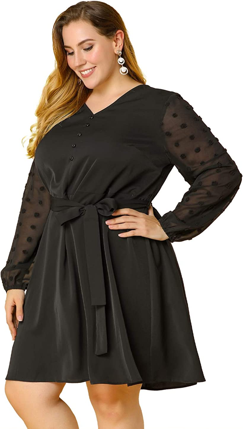 Agnes Orinda Women's Plus Size Dresses Knee Belted Long Sleeves Midi Semi Sheer Party Dress Mothers Day