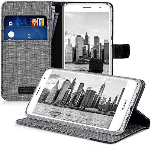 kwmobile Huawei Nova Plus Hülle - Kunstleder Wallet Case für Huawei Nova Plus mit Kartenfächern und Stand - Grau Schwarz - 4