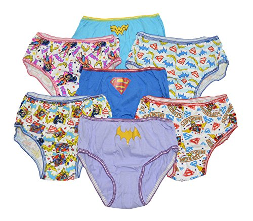 DC Girls Super Hero Hipsters Pack of 7 Underwear Size 4 Supergirl Batgirl