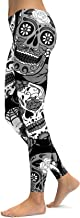 sissycos Women's Sugar Skull Printed Leggings Halloween Brushed Buttery Soft Ankle Length Tights