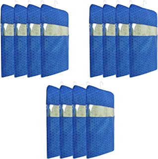 PrettyKrafts dots Printed Hanging Saree Cover Wardrobe Organiser (Set of 12 Pieces) - Blue
