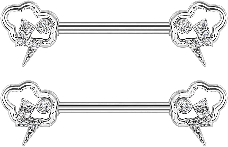 CHARM ONLINE 14G Stainless Steel Nipple Barbells Sparkly Cubic Zirconia Nipplerings Piercing for Women Men in Body Piercing Jewelry