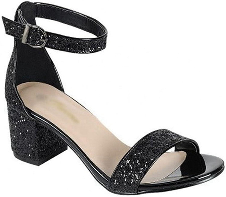 Women's Gliter Open Toe Mid Chunky Heel Sandals No-Slip Ankle Strap Block Heels Sandals