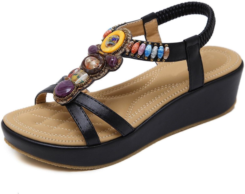 MYTANG Womens Middle Wedge Heel Summer shoes Flip Sandals