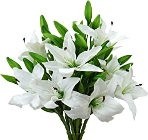 MINYULUA 8Pcs Artificial Tiger Lily Flowers White Real Touch Lilies Flower Bouquet Faux Floral Table Centerpieces Arrangement for Wedding Home Party Garden Office Decor