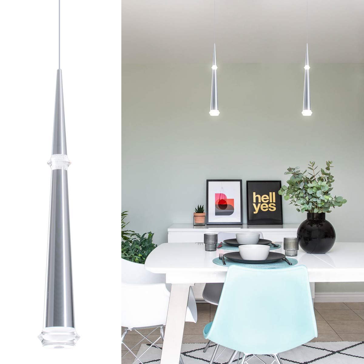 Bewamf Modern Mini Pendant Light Adjustable Led Cone Pendant Lighting With Silver Brushed Chrome Finish Acrylic Shade For Kitchen Island 7w Warm White 3000k Upgrade Version 1 Pack Buy Online In Aruba At Aruba Desertcart Com