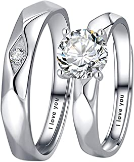 Aokarry 1 Pair 925 Sterling Silver Promise Rings for Couples Personalized Engraved Rings for Men and Women, Size Adjustabl...