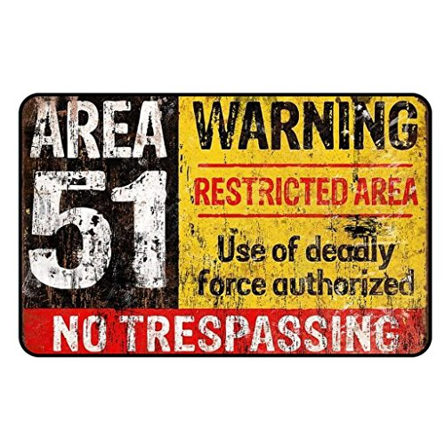 Cadora Magnetschild Kühlschrankmagnet Vintage Retro Area 51 Warning No Trespassing UFO Alien