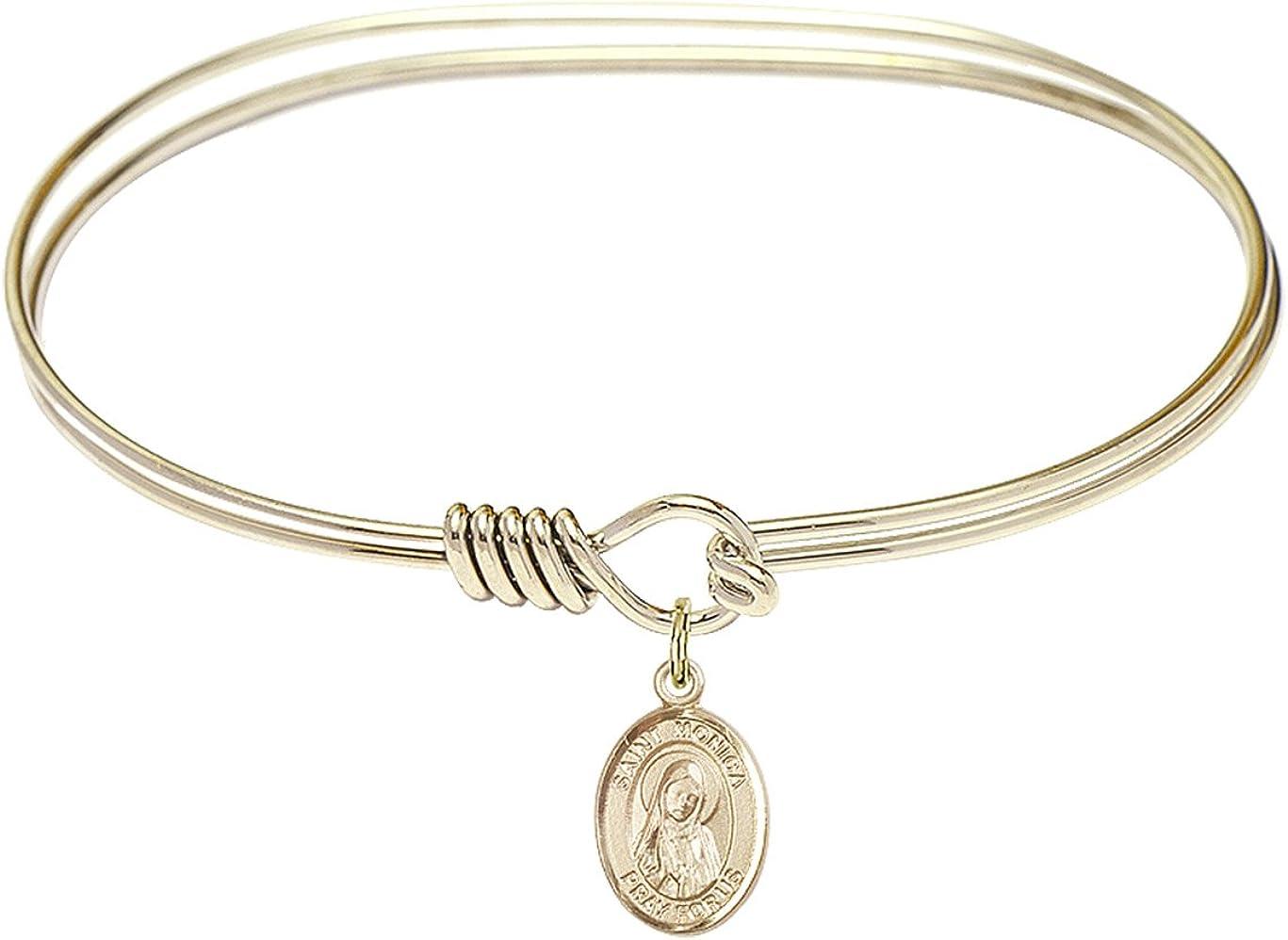 DiamondJewelryNY Eye Hook Bangle Bracelet with a St. Monica Charm.