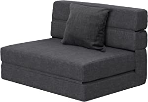 ANONER Fold Sofa Bed Couch Memory Foam with Pillow Futon Sleeper Chair Guest Bed and Fold Out Couch,Washable Cover Twin Size, Dark Gray