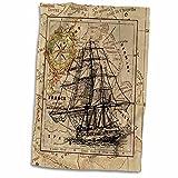 "3D Rose Image of Black Ghost Ship On Vintage European Map Hand Towel, 15"" x 22"""