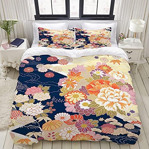 ELIENONO Juego de Bettbezug de decoración (220x240cm) Kimono Beautifu japón Fondo japonés Juegos de Bettwäsche de 3 Piezas con 2 Kissenbezügen para Wohnheim Hotel Schlafzimmer Dekor