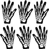 3 Pares de Guantes de Esqueleto Blanco Negro de Halloween Nuevos Accesorios de Disfraces Huesos Fantasma para Halloween Guantes de Disfraces (Grande)
