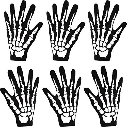 3 Paare Neue Halloween Schwarz Weiß Skeleton Handschuhe Schädel Fancy Dress Zubehör Geist Skelett für Erwachsene Halloween Tanzen Party Kostüm Handschuhe (Groß)