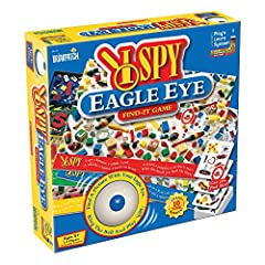 Use your eagle eye to spy an object on your game board that matches an object on your card Each card and board have only one matching pair Fast, furious, and fun! Includes 30 double-sided cards, 4 double-sided game boards, and a bell For 2 to 4 playe...