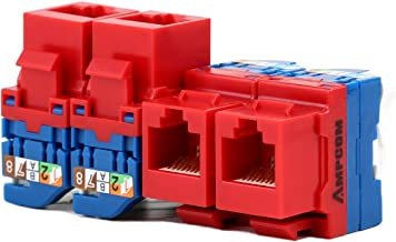 AMPCOM 5-Pack CAT6 RJ45 Tool-Less Keystone Jack, No Punch Down Tool Required UTP Module Connector Red